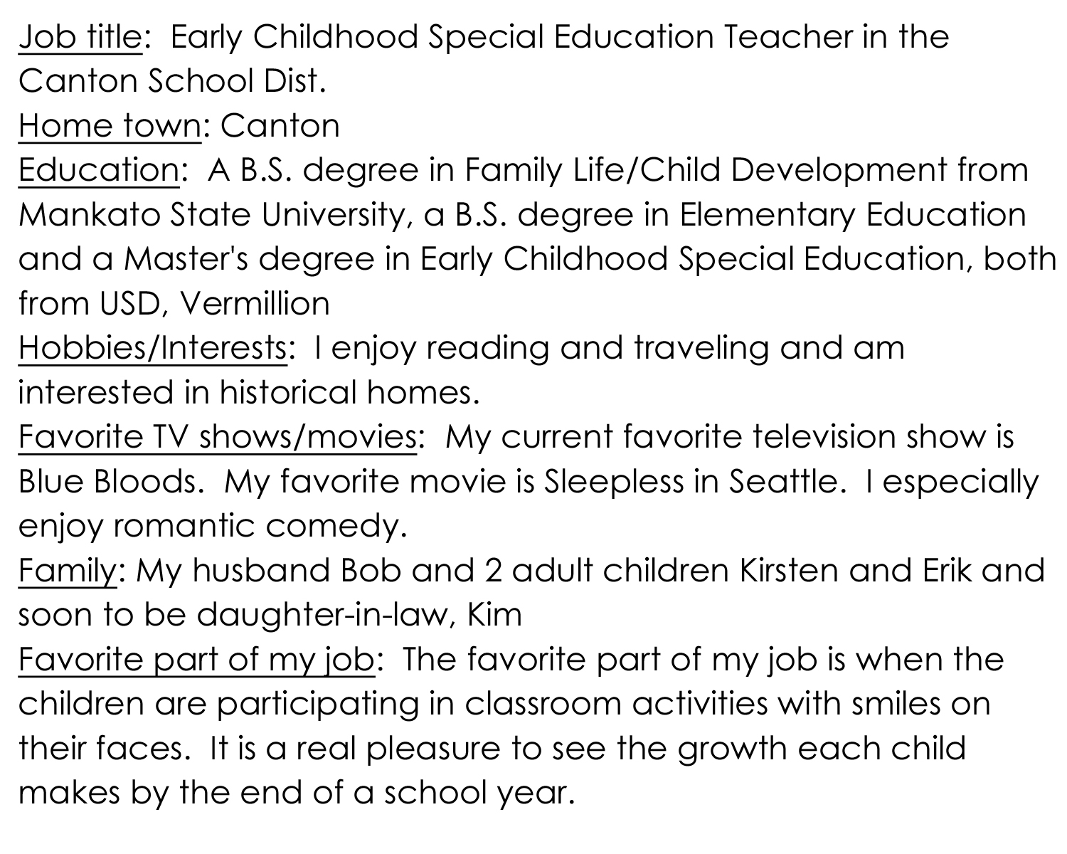 preschool teacher bio
